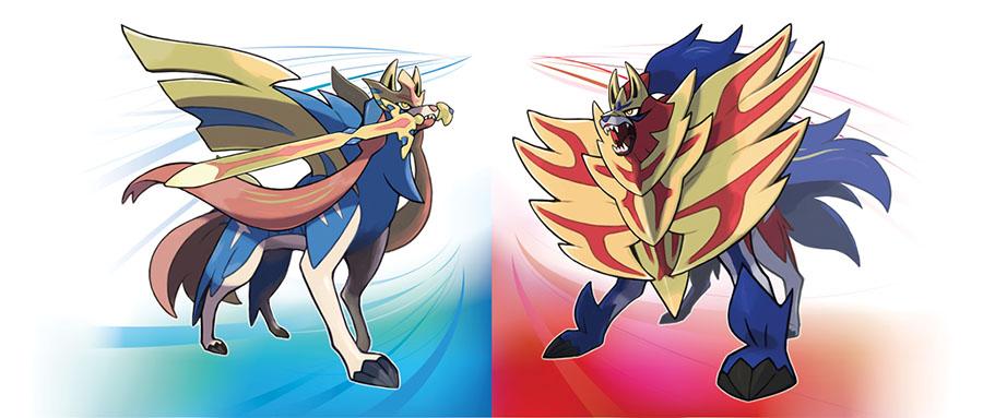 Artwork Pokémon Légendaires Zacian et Zamazenta - Pokémon Épée et Pokémon Bouclier
