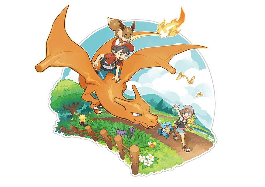 Artwork Pokémon Let's Go Pikachu et Évoli
