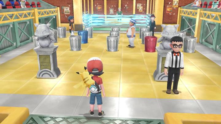 Arène de Carmin sur Mer Pokémon Let's Go Pikachu et Évoli