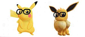 Lunettes Montures Noires Let's Go Pikachu et Let's Go Évoli