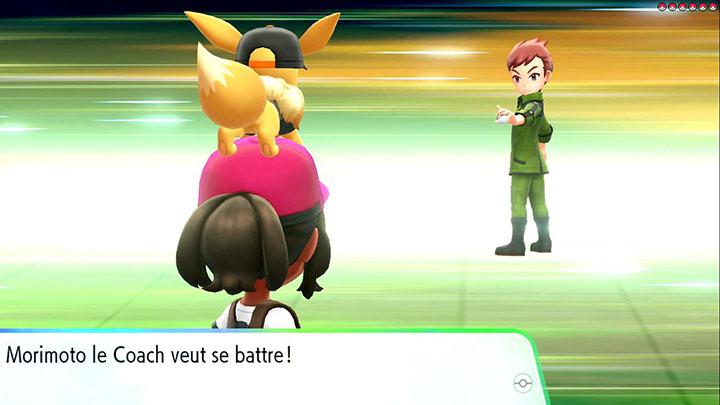 Combat contre Morimoto de Game Freak dans Pokémon Let's Go Pikachu et Let's Go Évoli