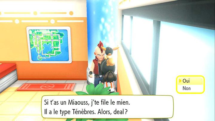Échange interne à Cramois'Île - Miaouss d'Alola - Pokémon Let's Go Pikachu et Pokémon Let's Go Évoli
