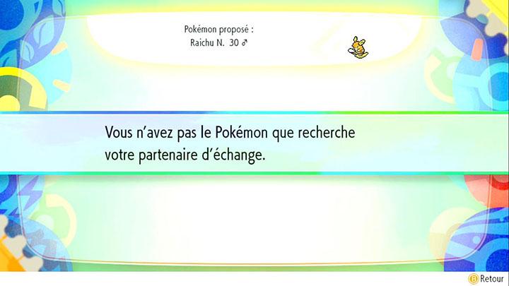 Échange interne à Safrania -  Raichu d'Alola - Pokémon Let's Go Pikachu et Pokémon Let's Go Évoli