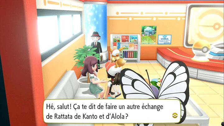 Échange interne à Azuria -  Rattata d'Alola - Pokémon Let's Go Pikachu et Pokémon Let's Go Évoli