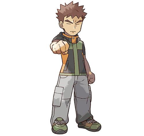 Pierre le Champion d'Arène Pokémon Let's Go Pikachu et Pokémon Let's Go Évoli