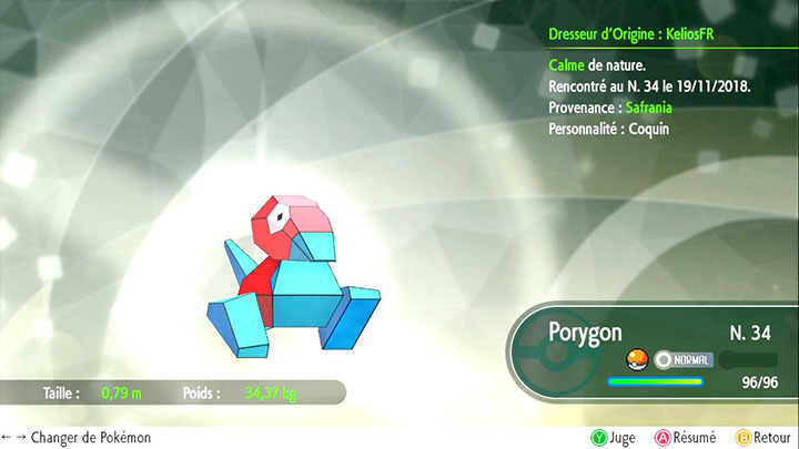 Porygon - Pokémon offert à Safrania - Pokémon Let's Go Pikachu et Pokémon Let's Go Évoli