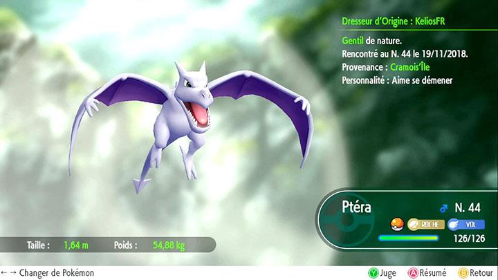 Ptéra - Pokémon offert à Cramois'Île - Pokémon Let's Go Pikachu et Pokémon Let's Go Évoli
