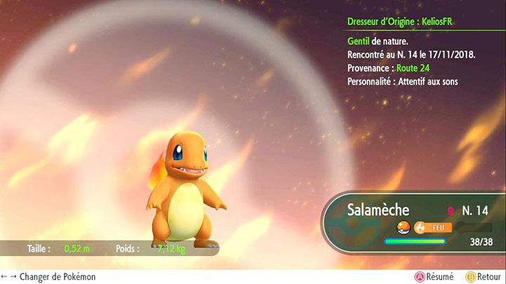 Salamèche - Pokémon offert sur la Route 24 - Pokémon Let's Go Pikachu et Pokémon Let's Go Évoli