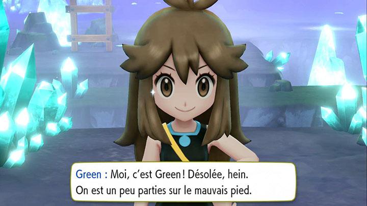Combat contre Green dans la Caverne Azurée sur Pokémon Let's Go Pikachu et Let's Go Évoli