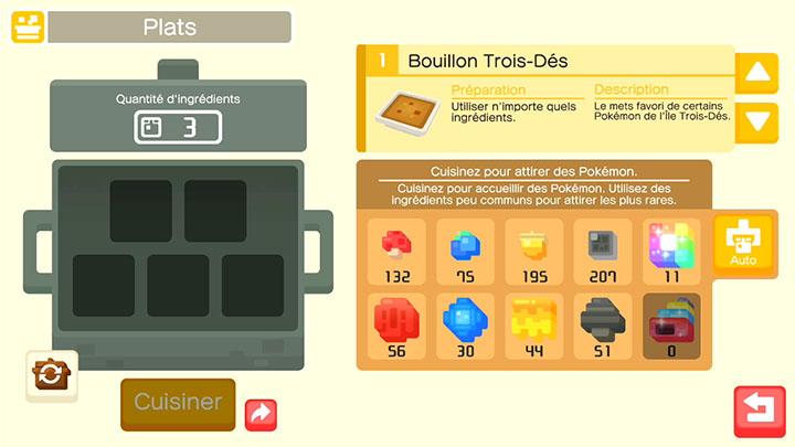 Cuisiner des plats - Pokémon Quest