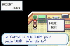 Magicarpe sur la Route 4 Pokémon Rouge Feu et Pokémon Vert Feuille