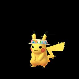 Imagerie de Pikachu (chapeau-fleur) - Pokédex Pokémon GO