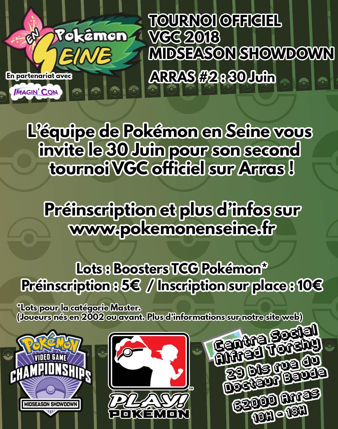 Nouveau tournoi VGC Pokémon en Seine à Arras le 30 Juin