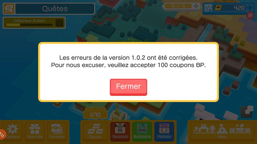Pokémon Quest : mise à jour 1.0.3 sur mobile