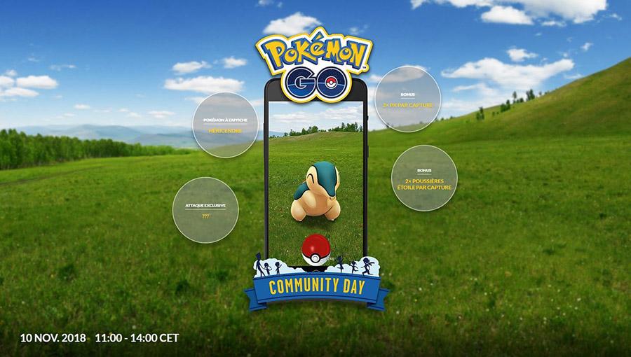 Héricendre en vedette lors du Pokémon Go Community Day du mois de Novembre