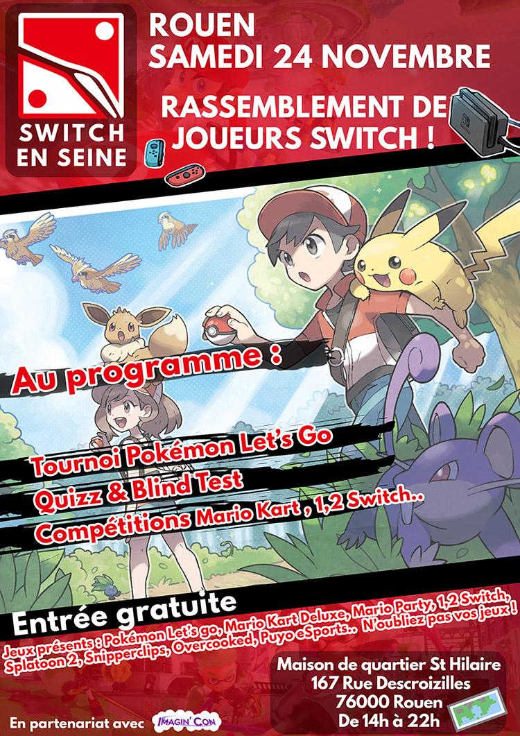 Tournoi Switch en Seine spécial Pokémon Let's Go le 24 Novembre à Rouen