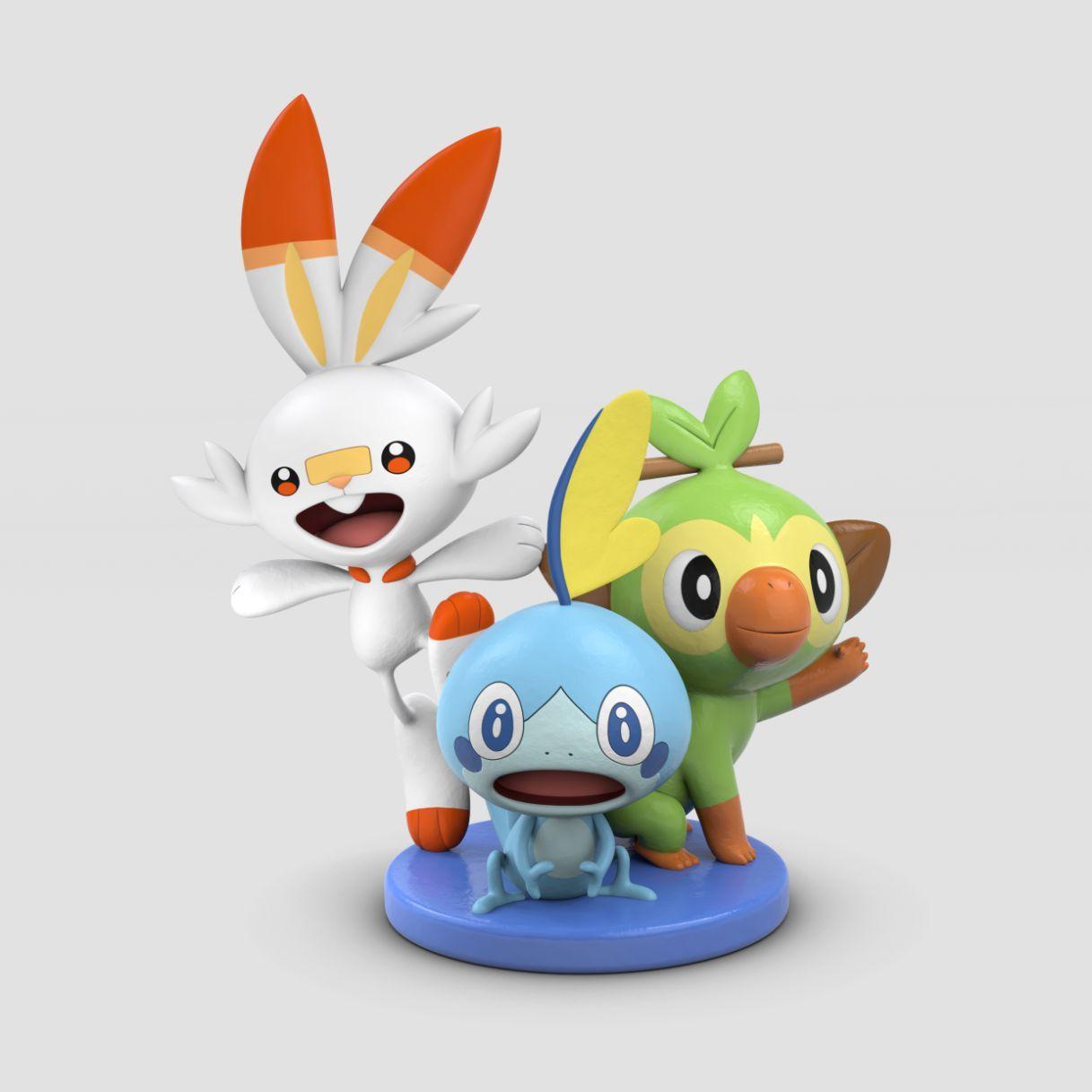 Figurine de Ouistempo, Flambino et Larméléon Pokémon Épée et Bouclier