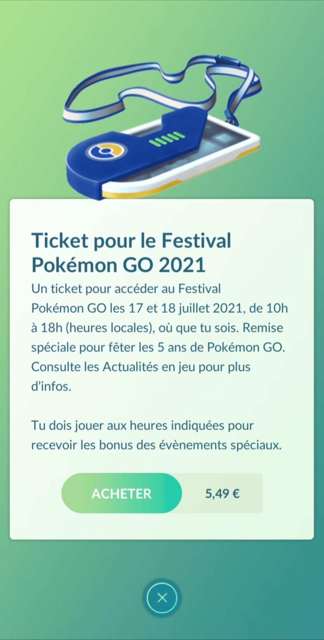 Ticket du Pokémon GO Fest 2021